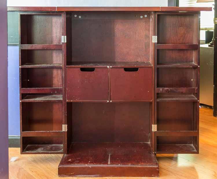 The bar before (open) | DIY Hollywood Regency Bar Cabinet Makeover