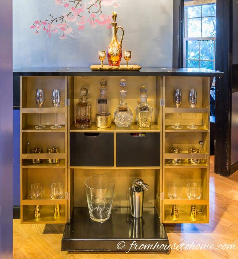 The bar looks great when it's open | DIY Hollywood Regency Bar Cabinet Makeover