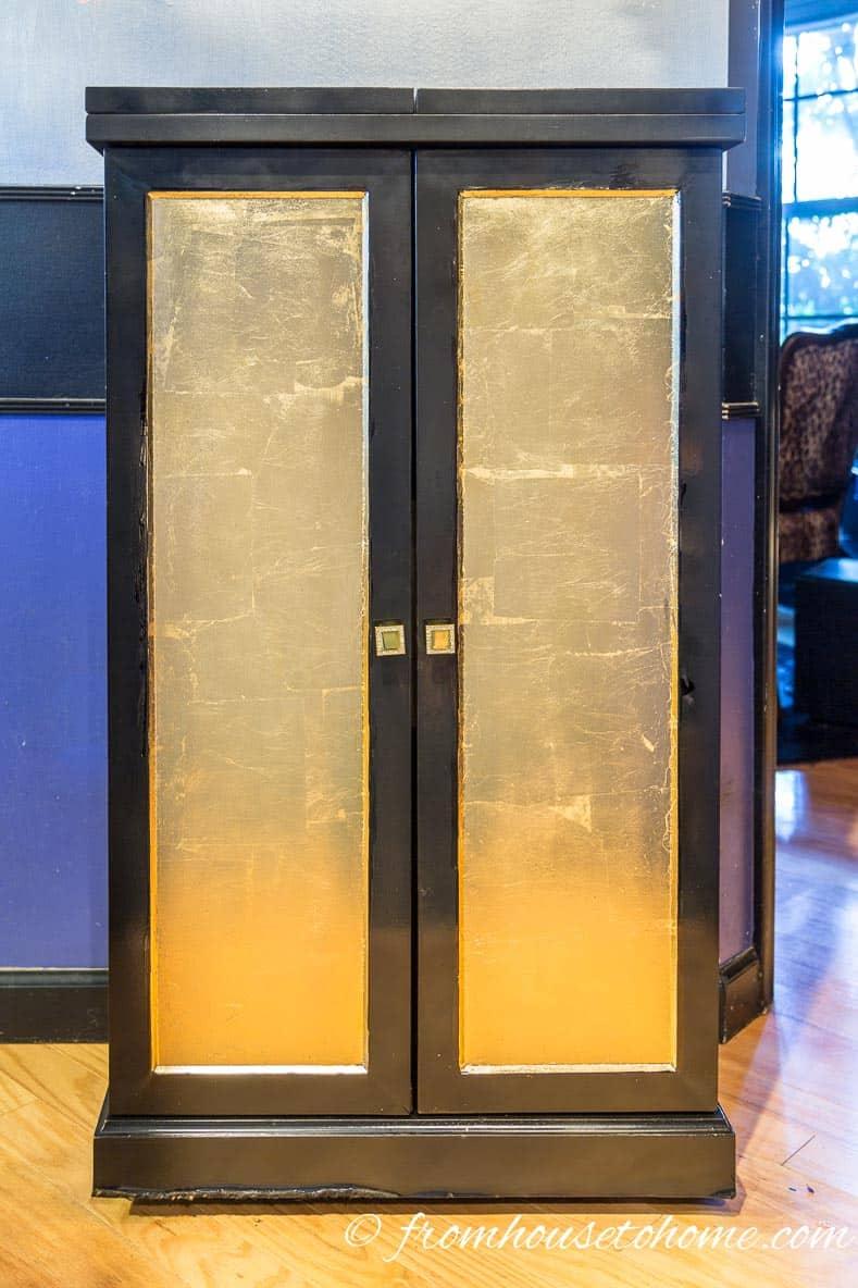 The new bar | DIY Hollywood Regency Bar Cabinet Makeover