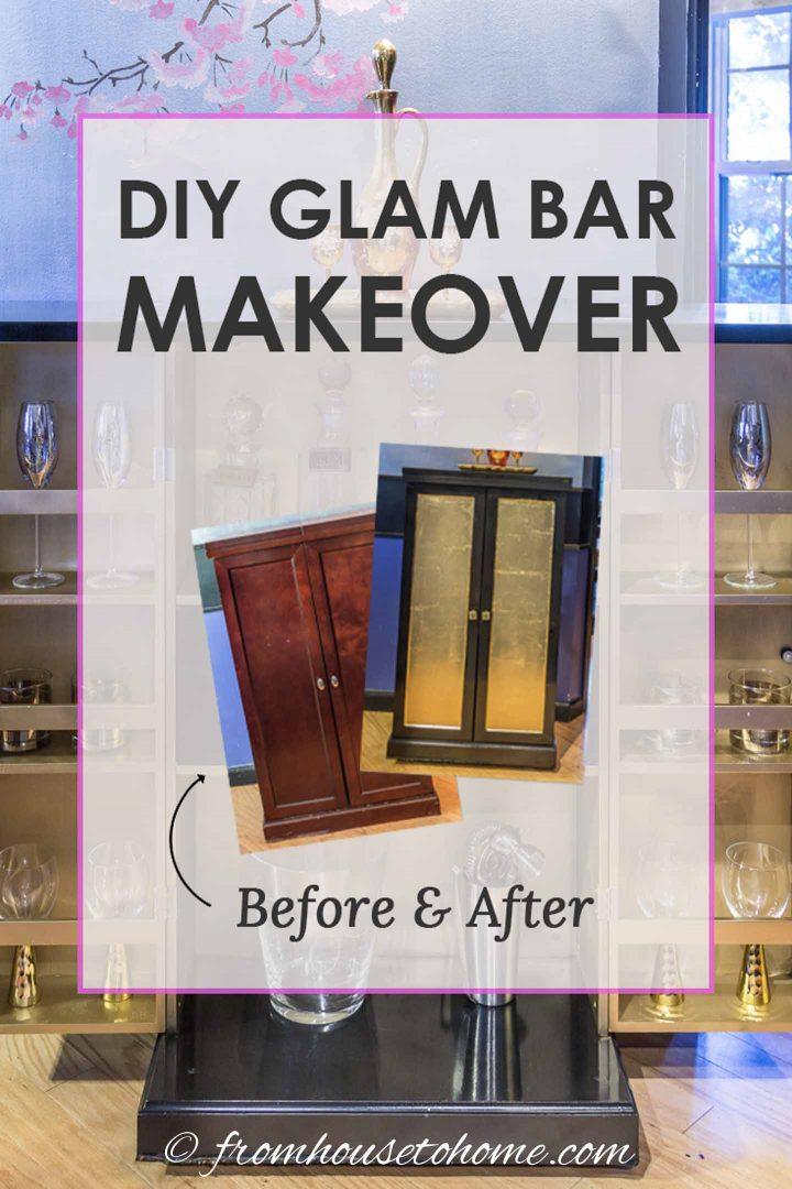 DIY Glam Bar Cabinet Makeover
