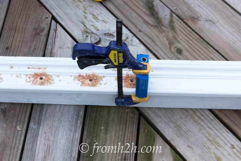 Clamp the pocket hole jig to the moulding