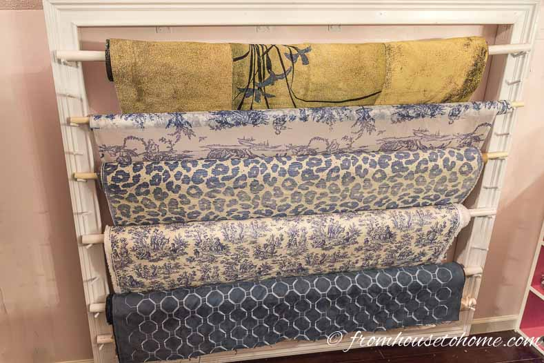 The Finished Fabric Roll Storage Rack | How To Make A Fabric Roll Storage Rack