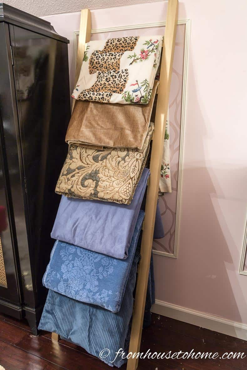 The finished ladder | DIY Fabric Storage Ladder