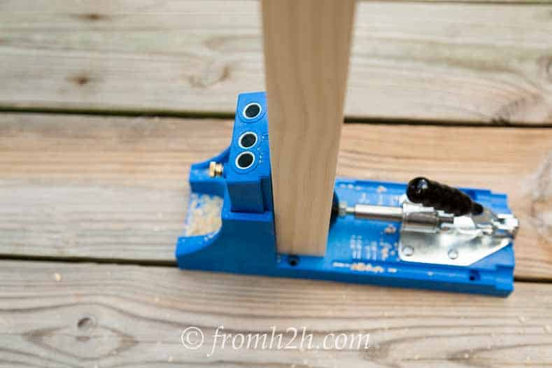 Close the Kregg Jig clamp | DIY Fabric Storage Ladder