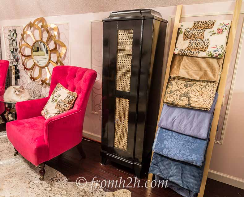 "The fabric even looks good with the ""office"" side of the room 
