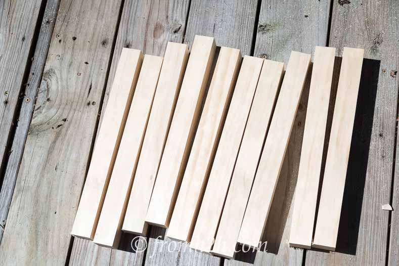 "Cut 15"" boards for the ladder rungs 