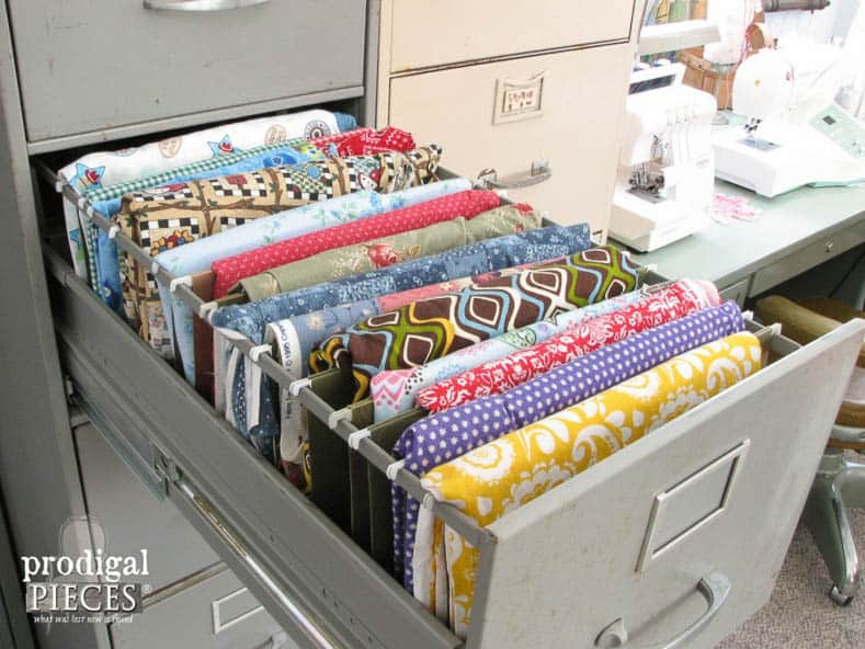 File fabric in a filing cabinet via prodigalpieces.com