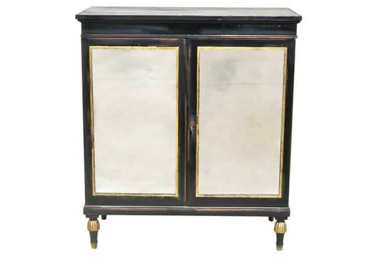 Black and gold cabinet from onekingslane.com | DIY Hollywood Regency Bar Cabinet Makeover