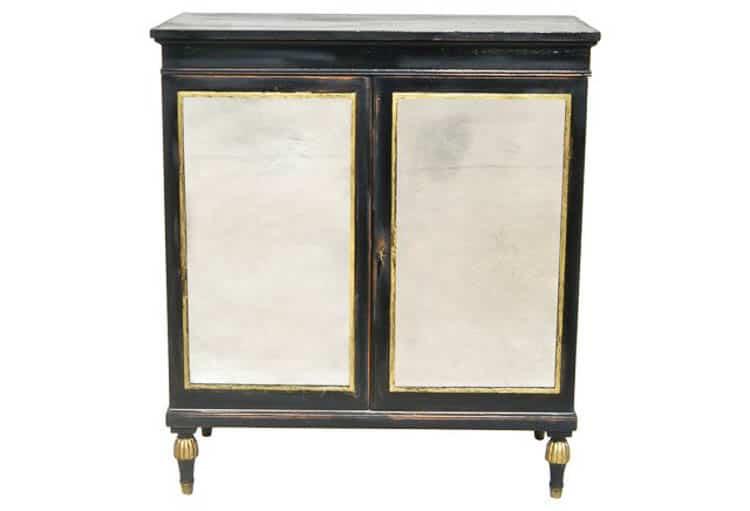 Black and gold cabinet from onekingslane.com | DIY Hollywood Regency Bar Cabinet Makeover