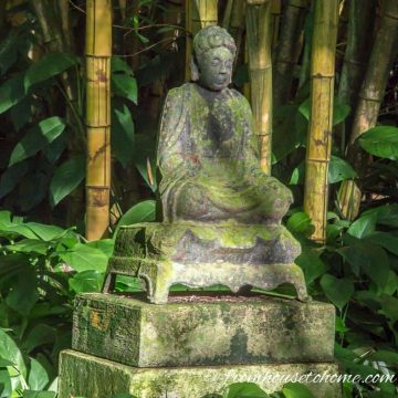 Garden art buddha in bamboo