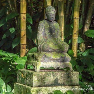 Garden art buddha in bamboo