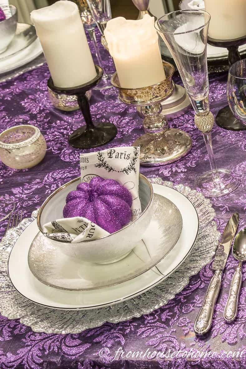 The purple and silver Thanksgiving Day table setting