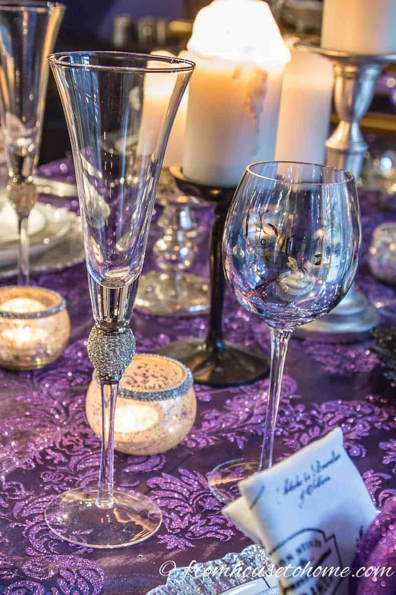Sparkly silver champagne flutes | Silver and White Table Setting