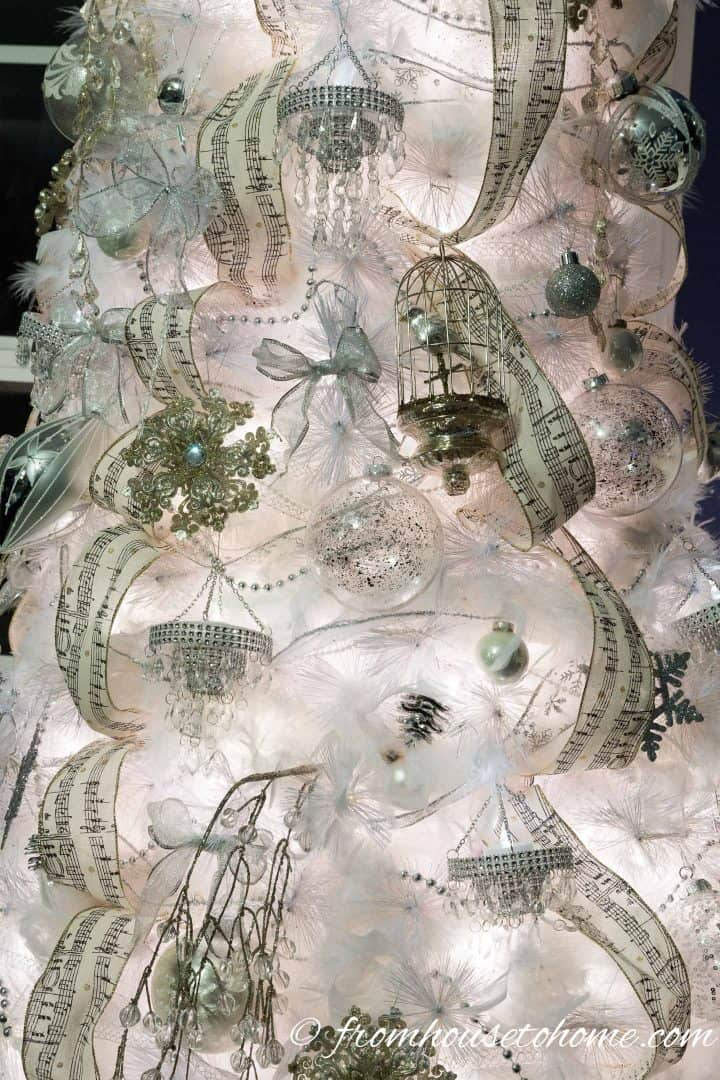 Close up of the all white Christmas tree