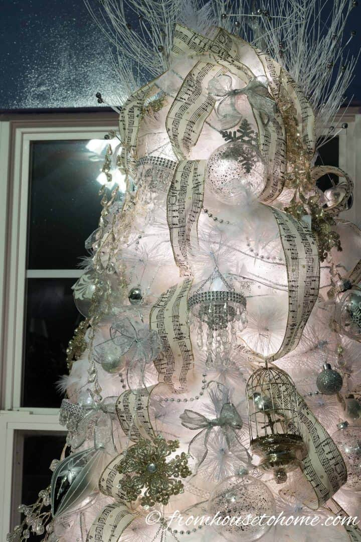 The top of an all white Christmas tree