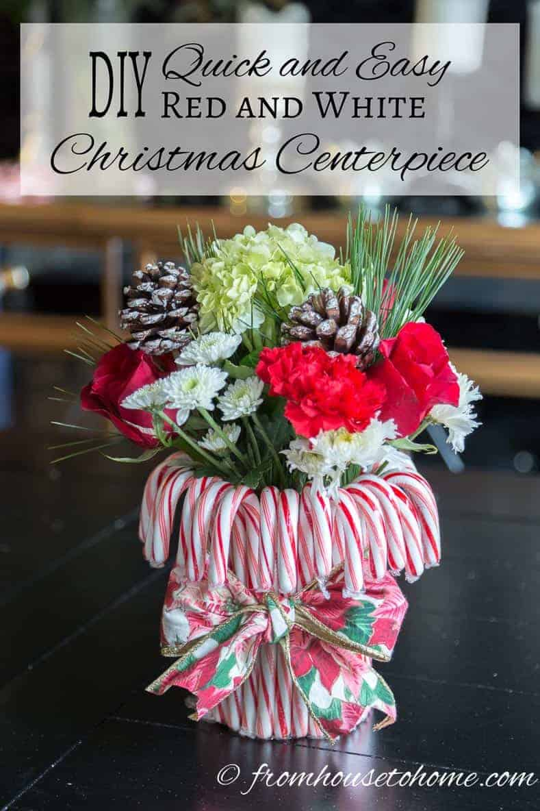 DIY: Quick and Easy Red and White Christmas Centerpiece