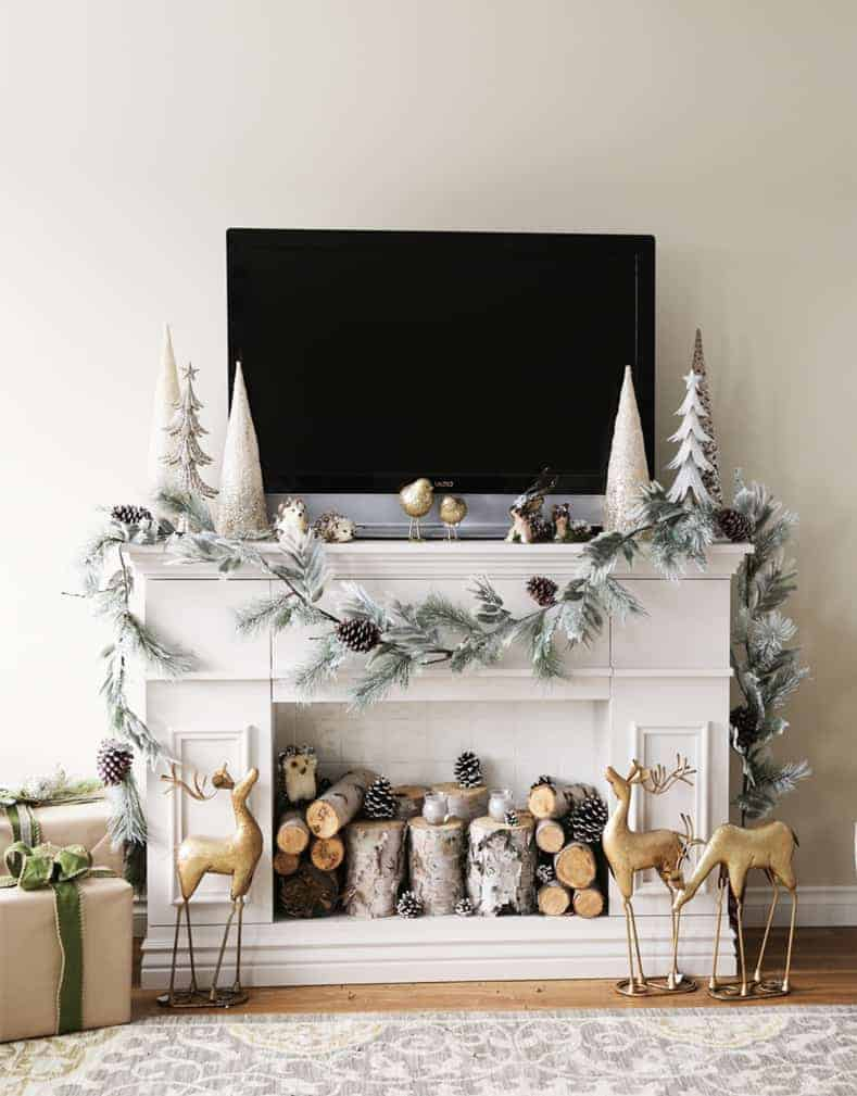 Fireplace mantel with built-in storage (via ana-white.com) | How To Decorate a Christmas Mantel With a TV Above It