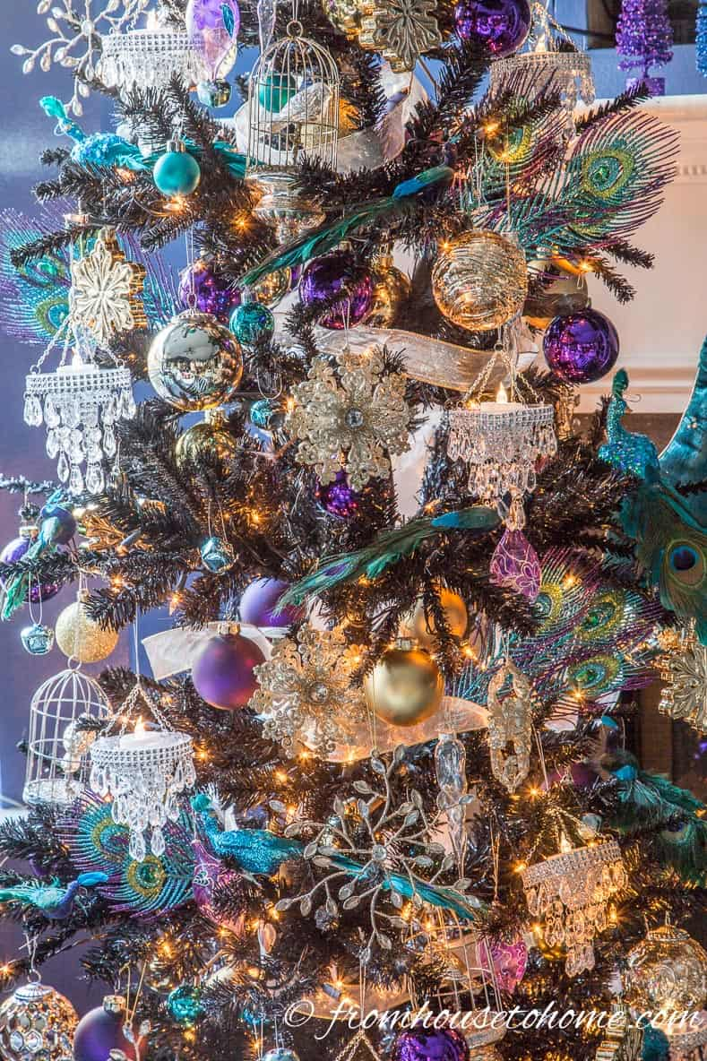 peacock black christmas tree christmas tree decorating ideas that will inspire you - Black Christmas Tree With Purple Decorations