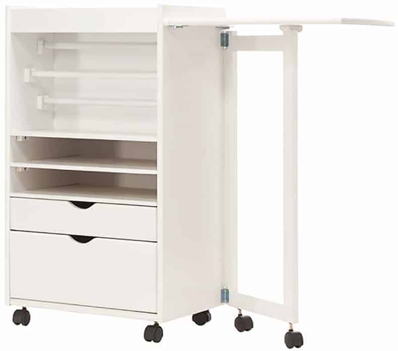 Wrapping Paper Storage Cart With Pullout Wrapping Area