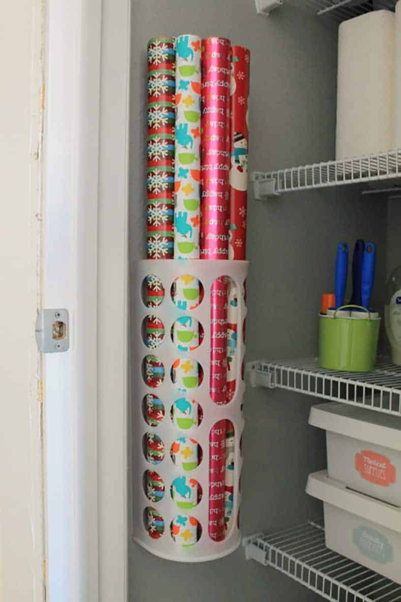 IKEA bag holder as wallpaper storage via interiorcandy.com