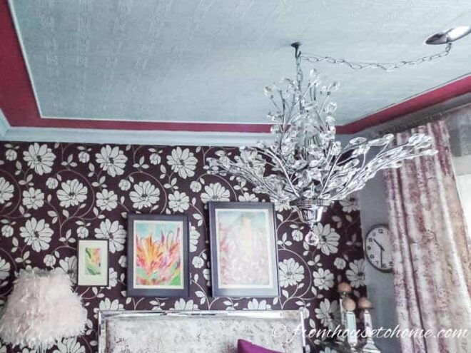 Wallpaper adds interest to the ceiling