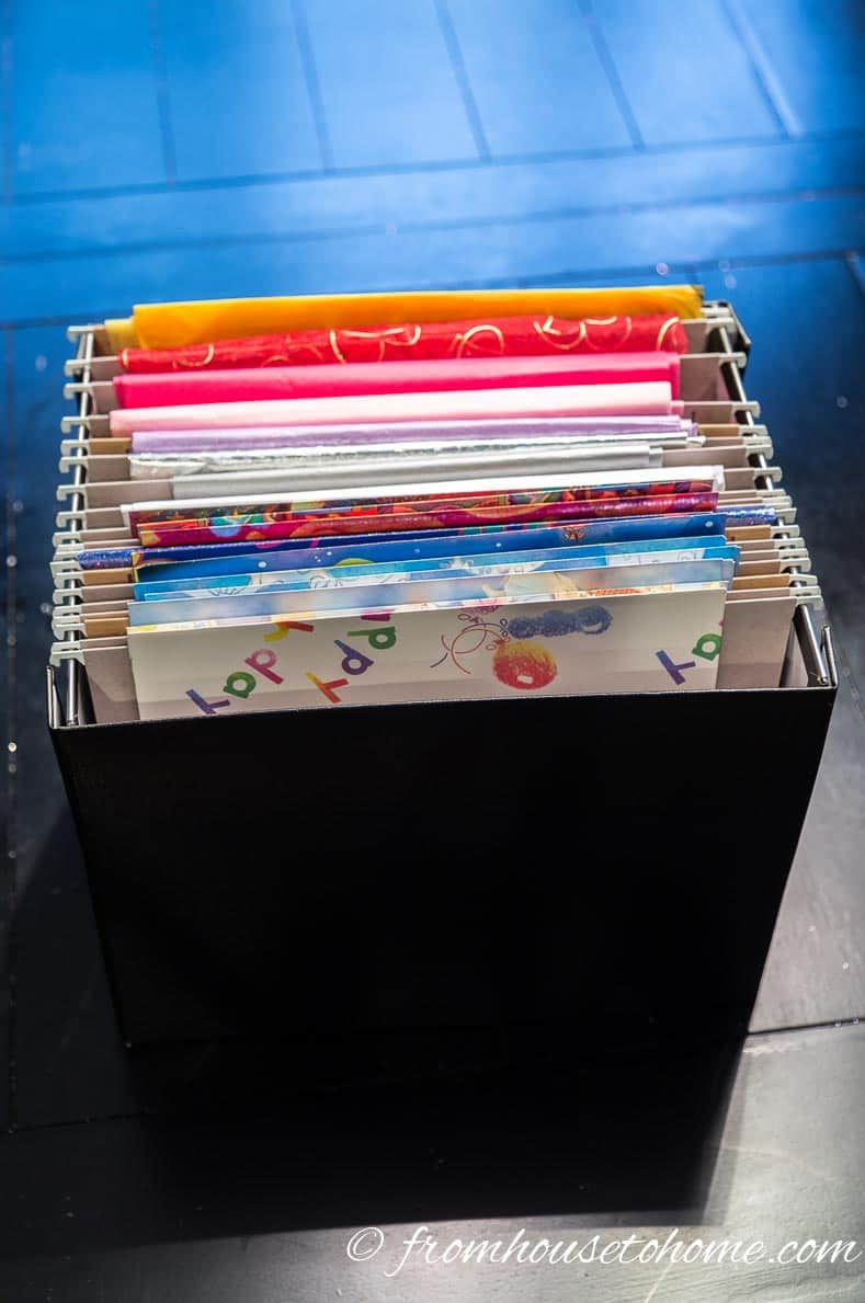 Hanging folders are a great way to store folded wrapping paper