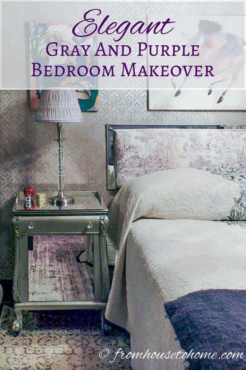 Elegant gray and purple bedroom makeover | If you are looking for some purple bedroom ideas, take a look at this elegant gray and purple bedroom makeover. It is beautiful with different shades of purple and an awesome chandelier.