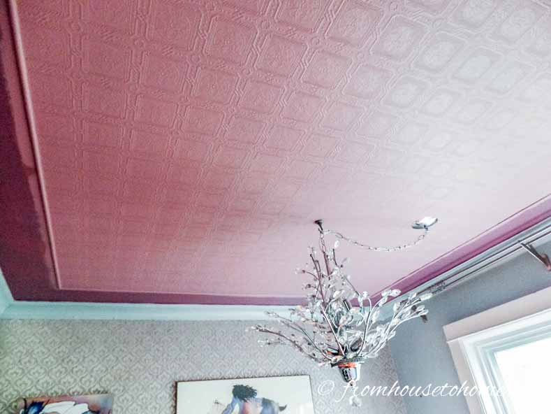 Ceiling with paint-able wallpaper painted pink