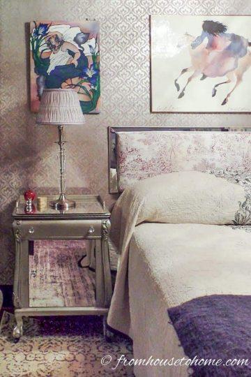 Purple Bedroom Makeover Nightstand