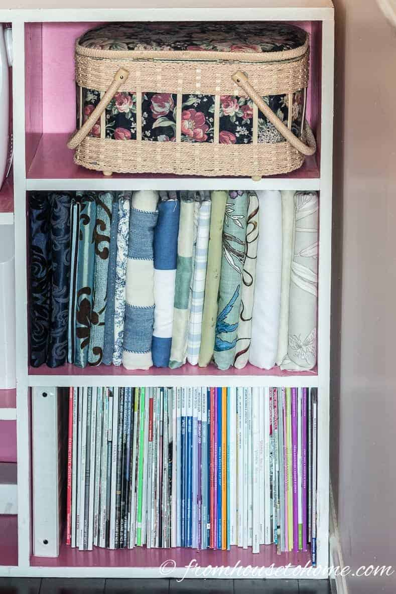 Store fabric scraps on a book shelf | 10 Simple Craft Room Organization and Storage Ideas | If you're looking for easy ways to organize your crafting supplies on a budget, these DIY storage and organization tips and ideas are perfect.