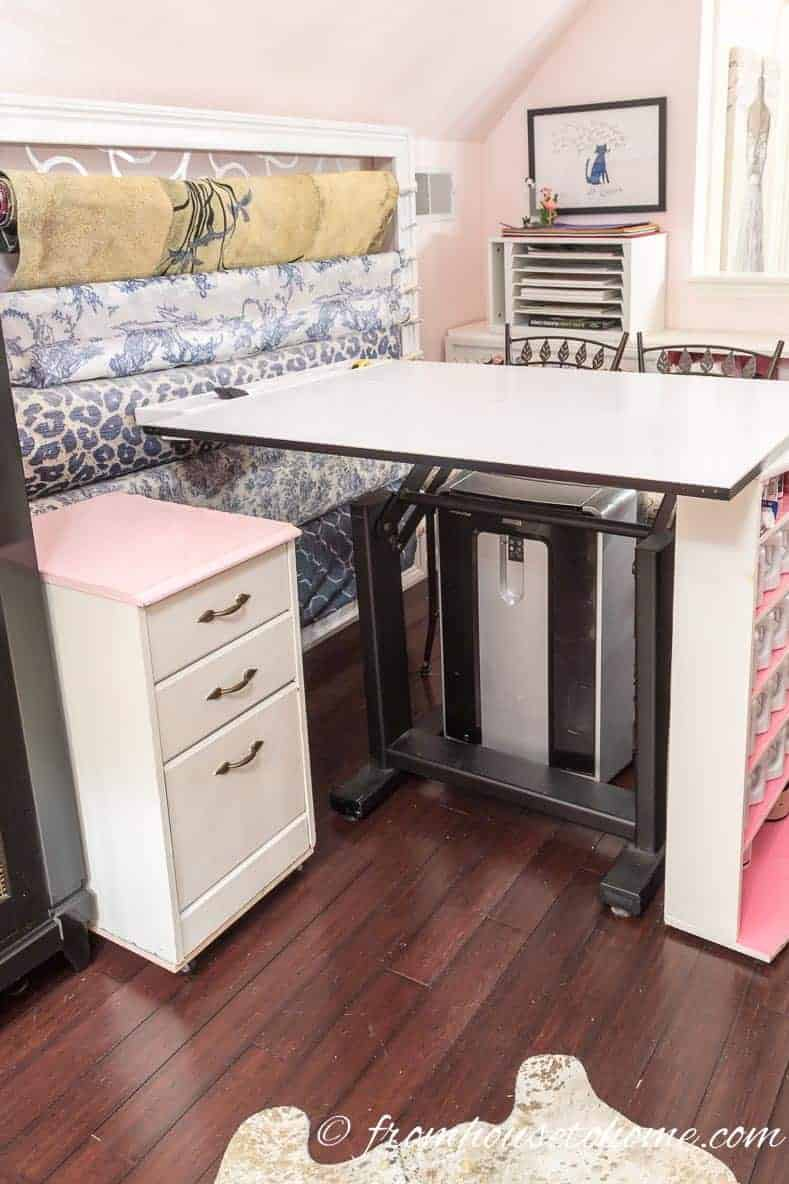 A filing cabinet on wheels can act as extra surface area | 10 Simple Craft Room Organization and Storage Ideas | If you're looking for easy ways to organize your crafting supplies on a budget, these DIY storage and organization tips and ideas are perfect.