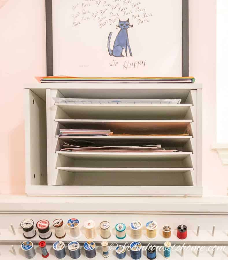 A paper organizer keeps paper from getting wrinkled | 10 Simple Craft Room Organization and Storage Ideas | If you're looking for easy ways to organize your crafting supplies on a budget, these DIY storage and organization tips and ideas are perfect.