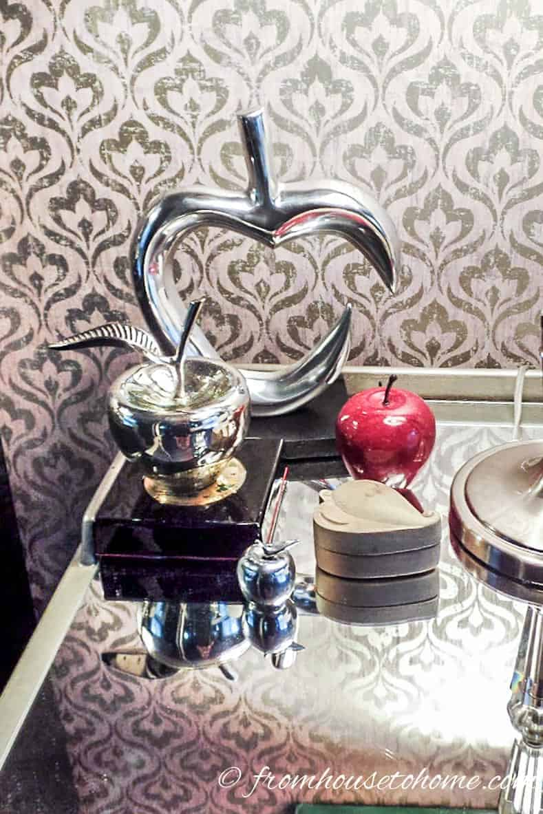 Collection of apples on a bedside table
