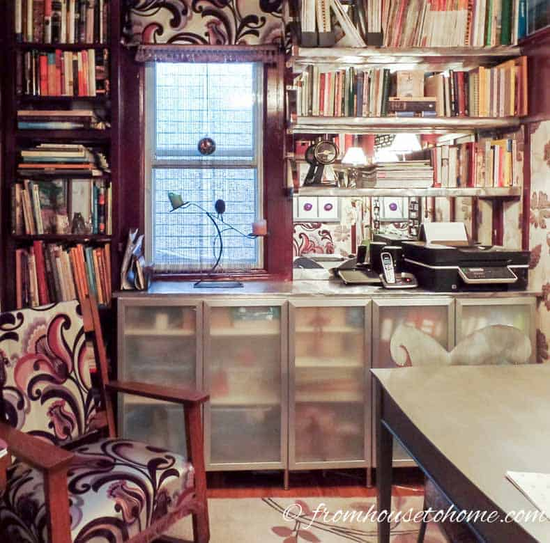 Install mirrors on the back of bookshelves