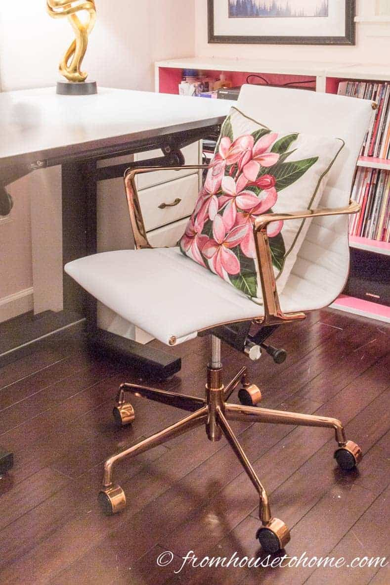 A chair with wheels is a good choice for a desk | Home Office Design Ideas: 8 Tips For A Functional and Comfortable Room | If you are looking for some home office design ideas, these tips will give you inspiration to create a functional and comfortable workspace layout.