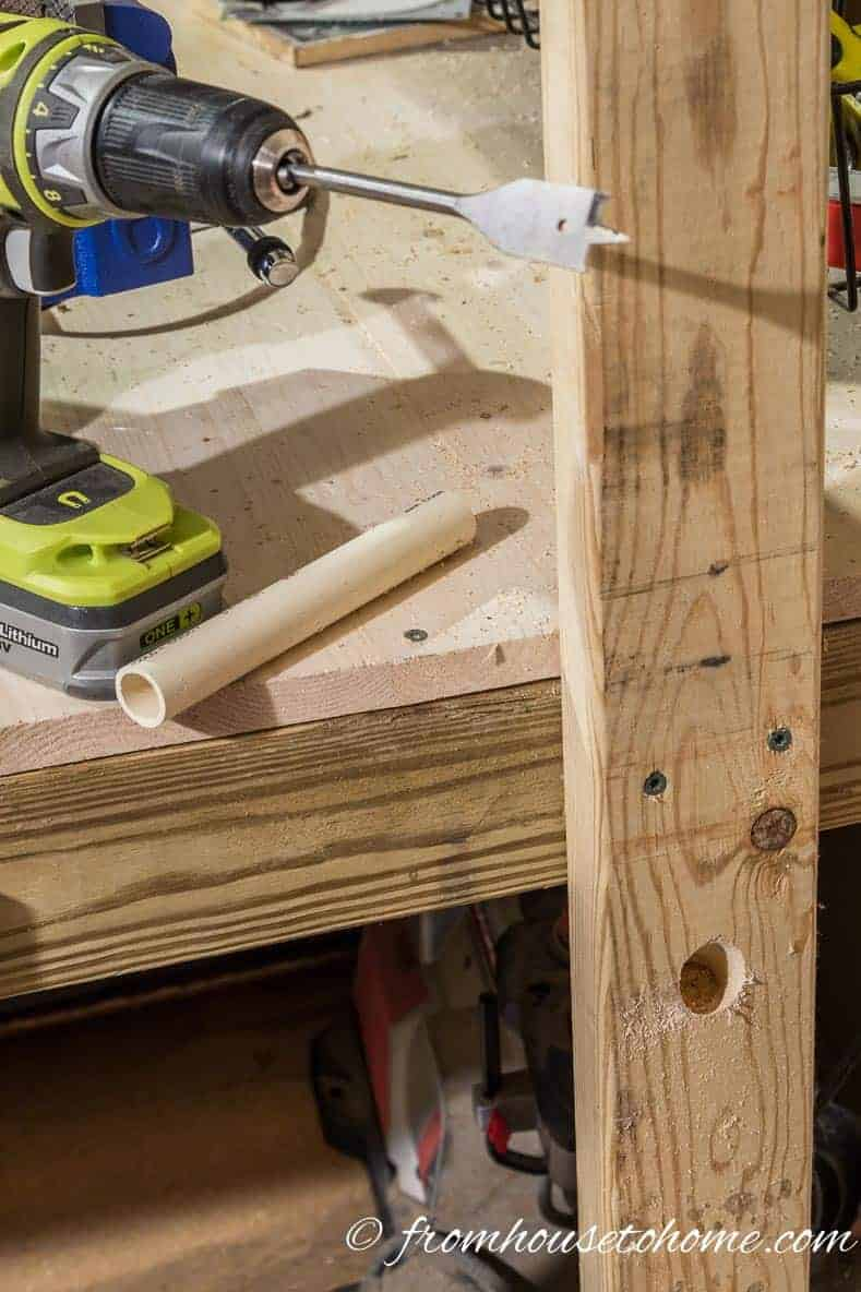 "Drill an angled hole in a 2"" x 4"""