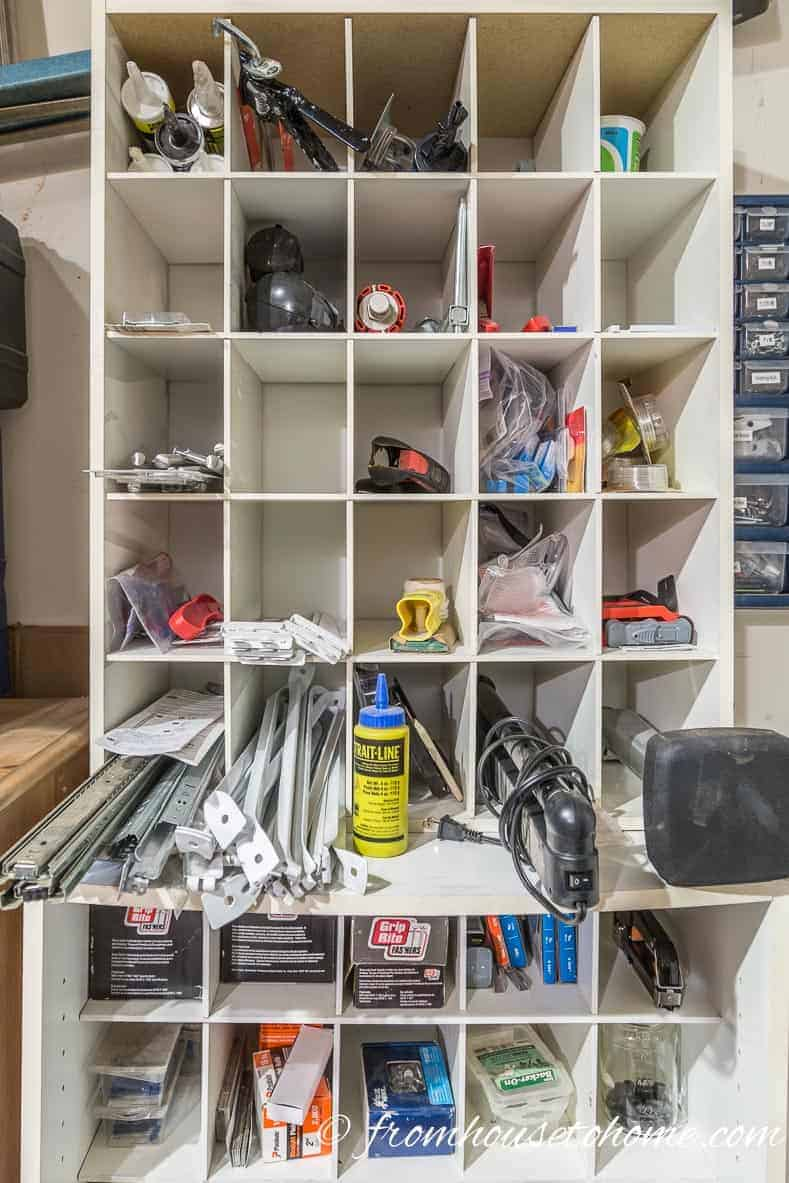 A shoe organizer makes great garage storage