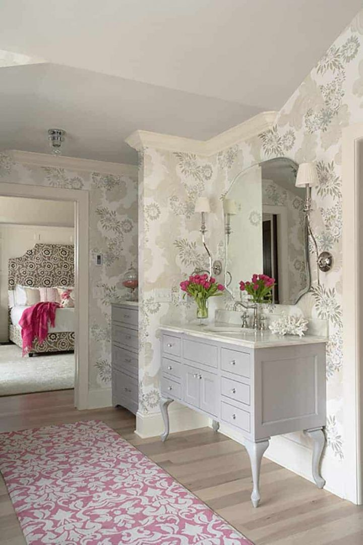 Bathroom with a dresser that has been converted to a vanity