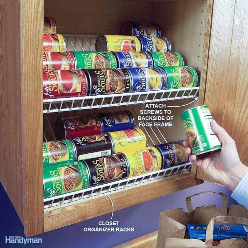 Wire shelving as pantry organizer | 7 clever wire shelving hacks that will get you organized | If you are looking for some DIY wire shelving hacks that are easy and inexpensive, this list of organization ideas will help you to repurpose those wire shelves.