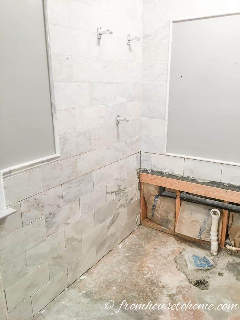 One Room Challenge, Week 4: Master Bathroom Makeover Tiling