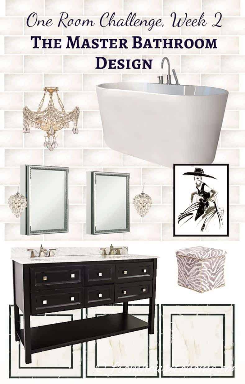 One Room Challenge Week Master Bathroom Design - One week bathroom