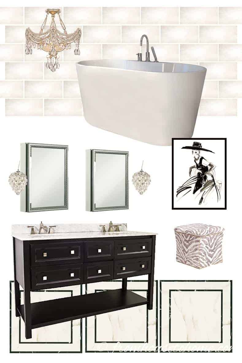 The Mood Board | One Room Challenge Week 6: Glam Master Bathroom Makeover | If you are looking for bathroom redecorating ideas, this eclectic, deco, glam master bathroom makeover will provide lots of inspiration and product sources.