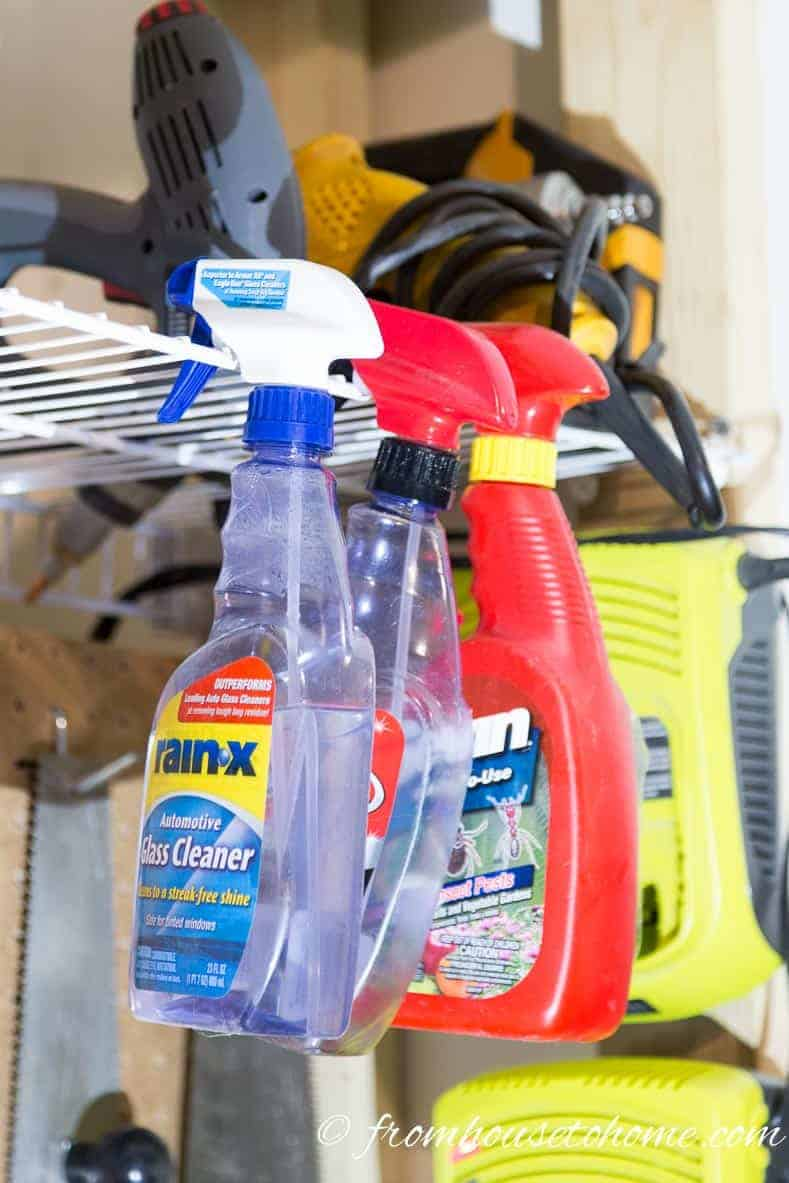 Hang cleaning supplies | 7 clever wire shelving hacks that will get you organized | If you are looking for some DIY wire shelving hacks that are easy and inexpensive, this list of organization ideas will help you to repurpose those wire shelves.