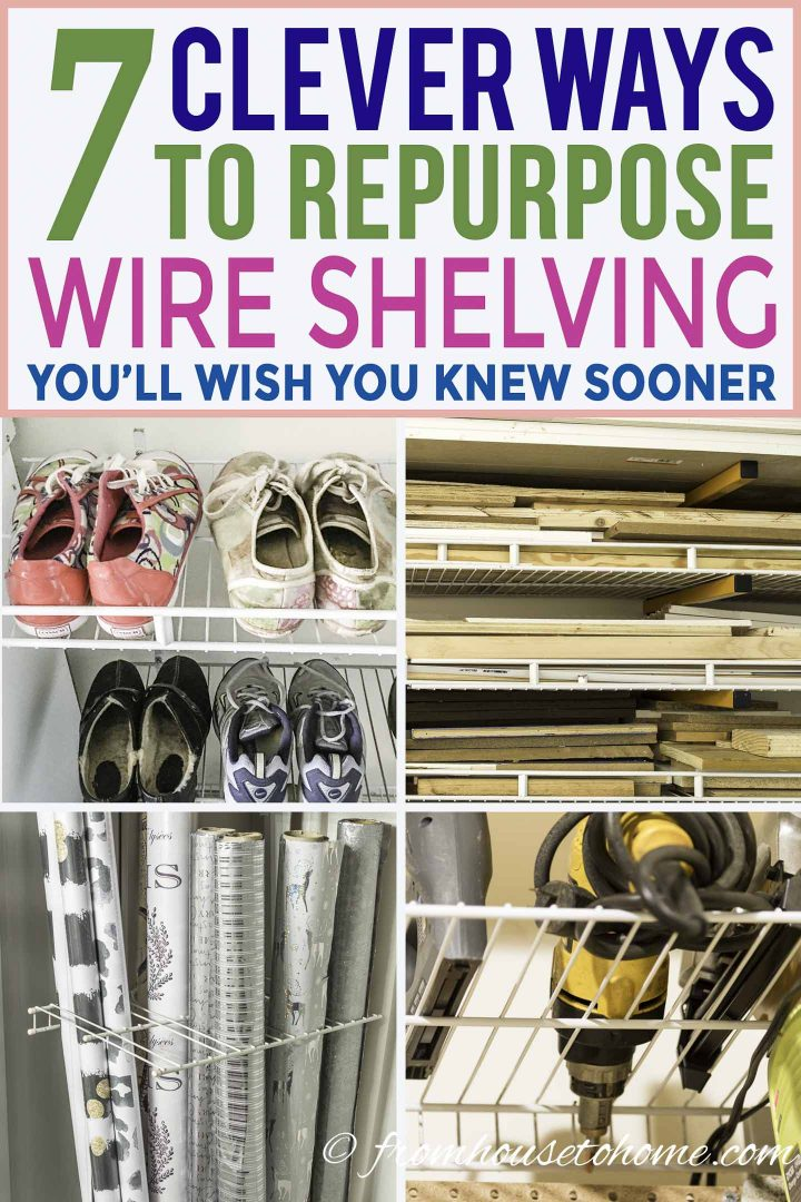 7 clever wire shelving hacks that will get you organized | If you are looking for some DIY wire shelving hacks that are easy and inexpensive, this list of organization ideas will help you to repurpose those wire shelves.
