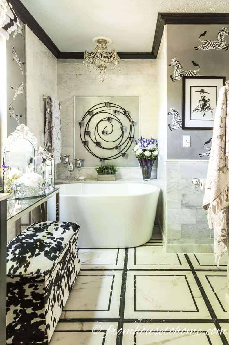 7 Beautiful Bathrooms With Stunning Black and White Floor Tile