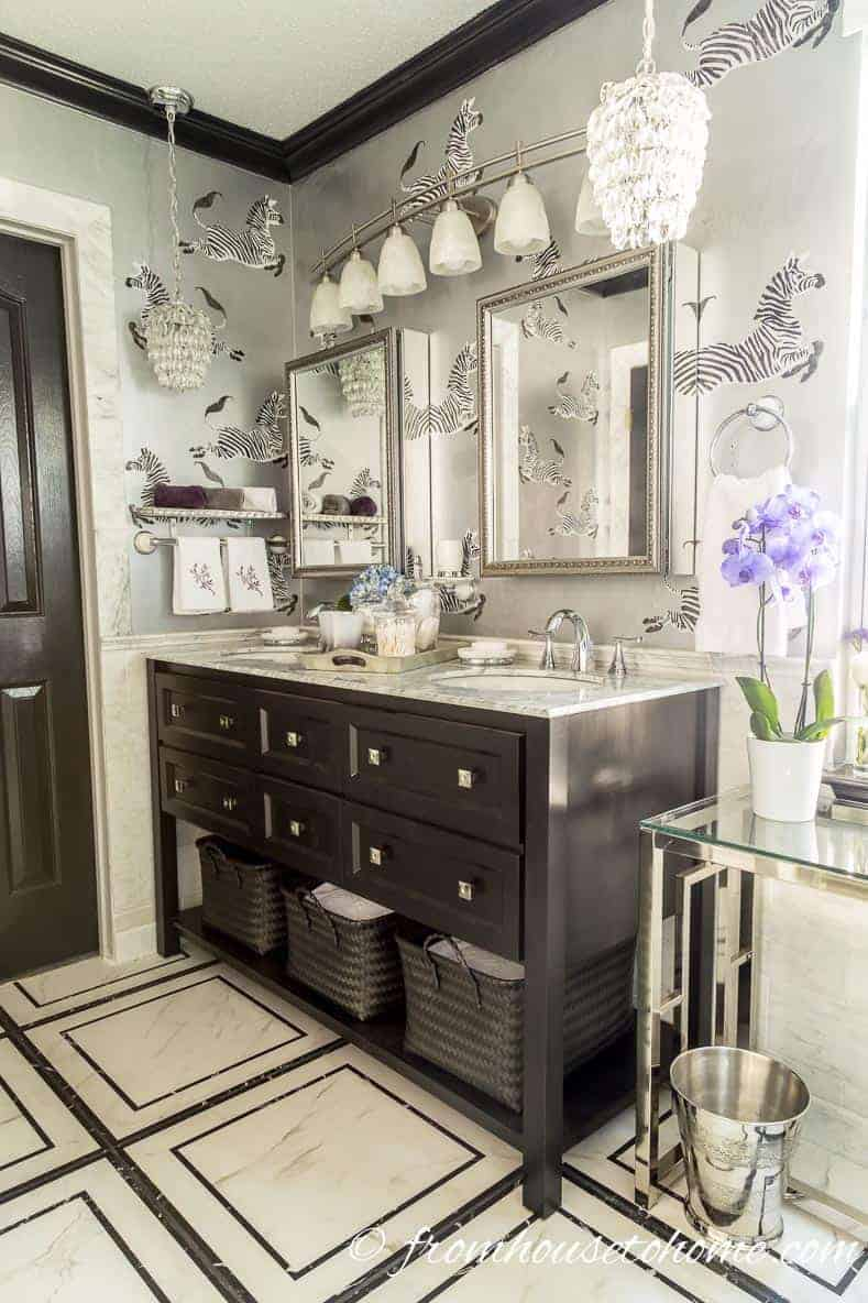 Black, white and glam master bathroom