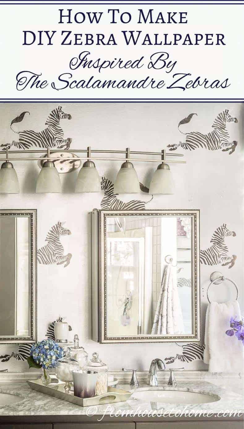 How To Make DIY Zebra Wallpaper Inspired By The Scalamandre Zebras | If you love the Scalamandre zebras but would like a less expensive option, try out this easy DIY zebra wallpaper tutorial that can be done in a day.
