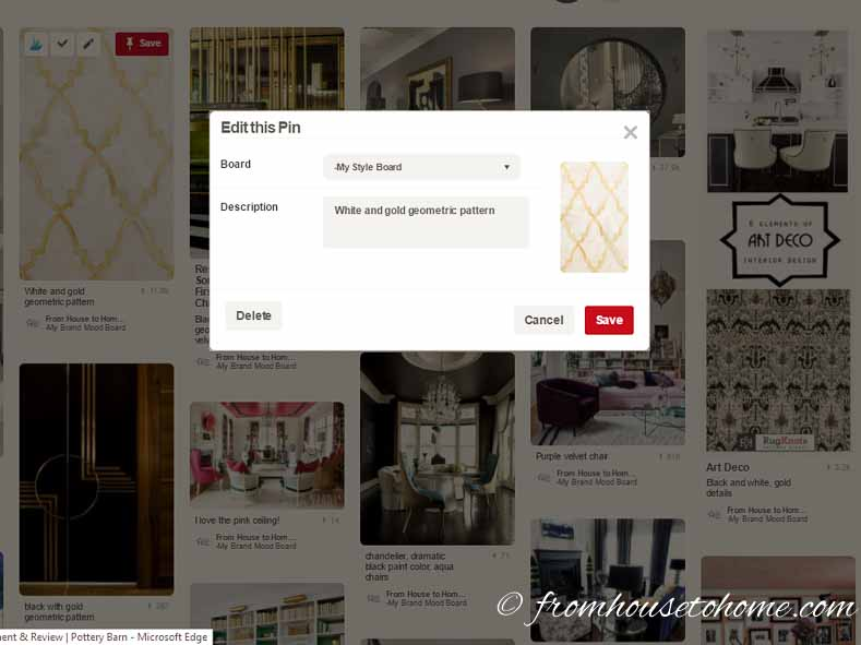 Use the Pin description to capture what you like about the pictures | What Is My Decorating Style? 5 easy steps that will prevent decorating mistakes | If you are trying to figure out the answer to 'What is my decorating style?', this 5 step process will make it easy for you to find your own personal design style.