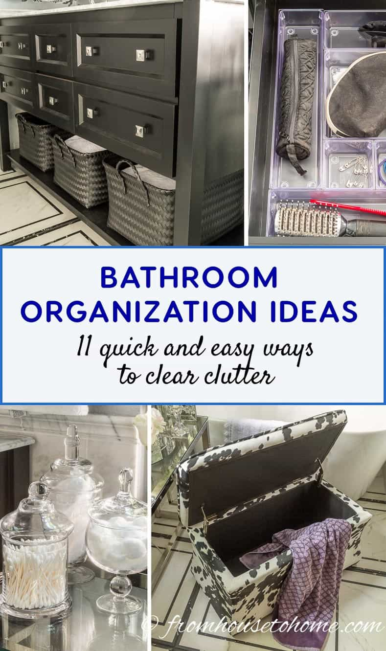 Bathroom Organization Ideas: 11 Quick and Easy Ways to Clear Clutter | I finally got my master bathroom organized with these bathroom organization ideas. These quick and easy storage tips really help to clear clutter from under the sink, on countertops, in drawers and more.