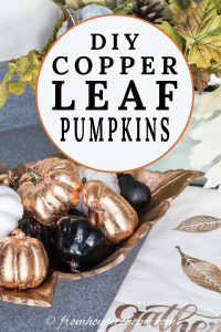 DIY copper leaf pumpkins
